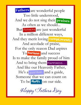 poems for fathers day from daughters | Father's Day Poems and ...