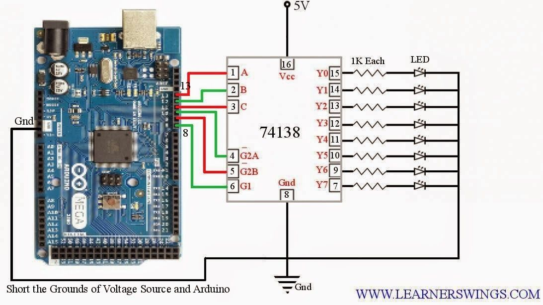 Controlling 74ls138 3 line to 8 line decoder demultiplexer controlling 74ls138 3 line to 8 line decoder demultiplexer using arduino funny electronics fandeluxe Images
