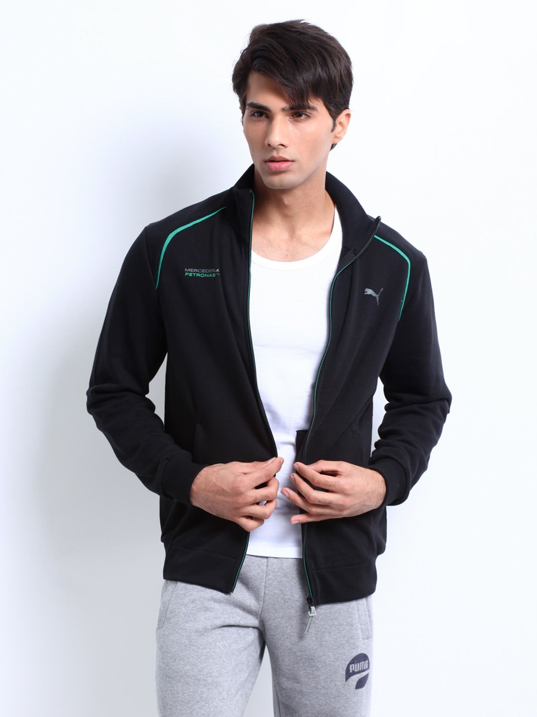 Puma Men Black Mercedes Amg Petronas Sweat Jacket Unique Fashion