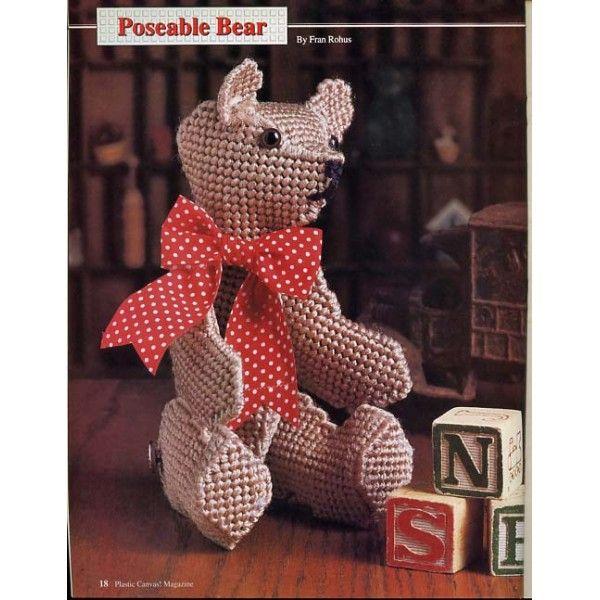 Poseable Bear Bookmarks Desk Set Winter Rose etc 22 Plastic Canvas Patterns