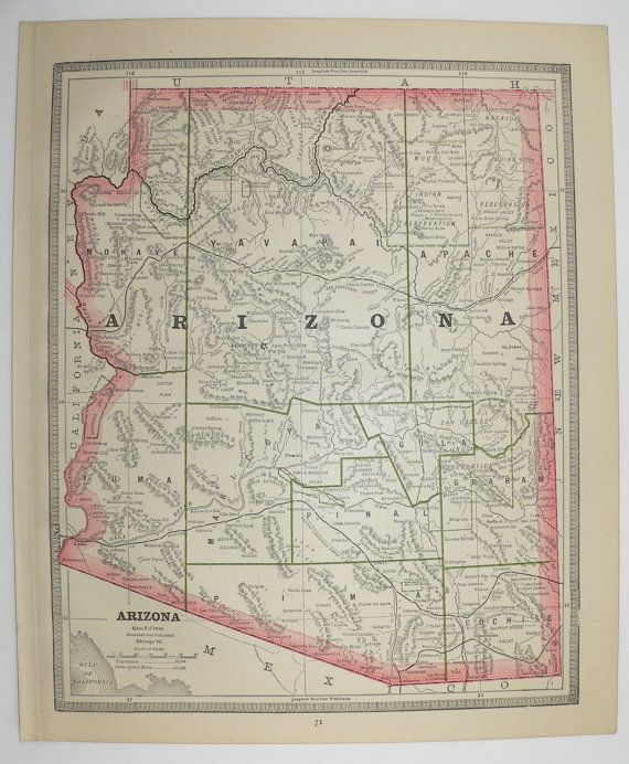 1885 Arizona Map Utah Map Unique Wedding Gift for Couple Vintage