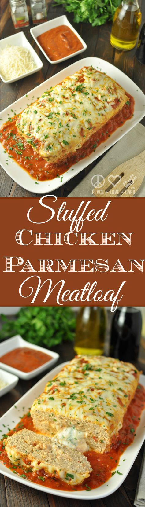 Cheesy Stuffed Chicken Parmesan Meatloaf - Low Carb, Gluten Free | Peace Love and Low Carb  via @PeaceLoveLoCarb