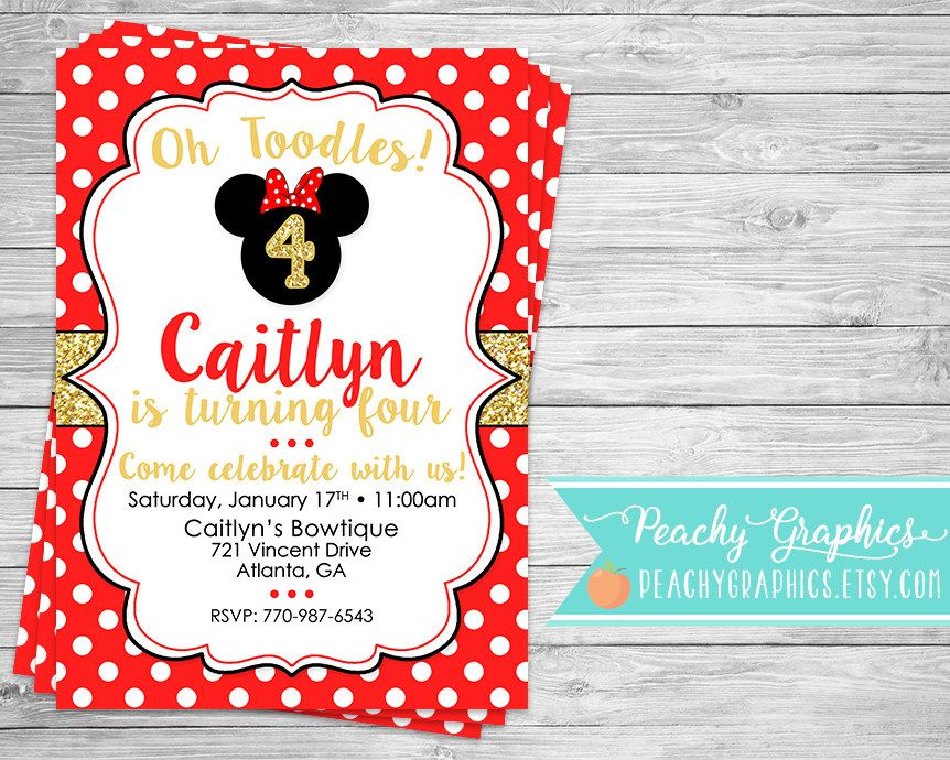 Red and Gold Minnie Mouse Bowtique Birthday Party Invitation by ...
