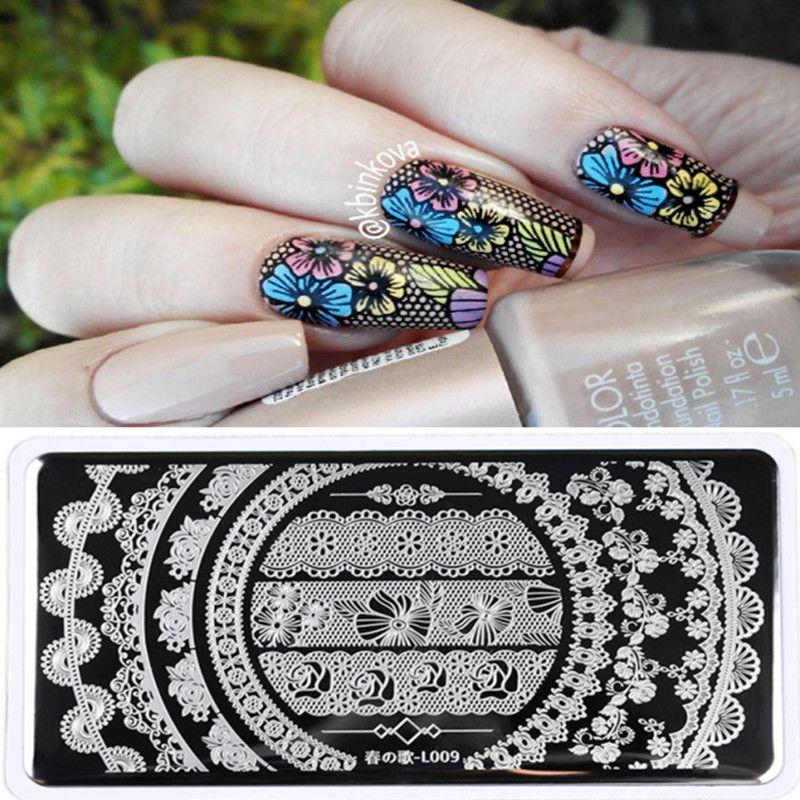 Nail Art Bunga: LAHIR CUKUP 1 Pc Cantik Renda Bunga Desain Nail Art Stamp