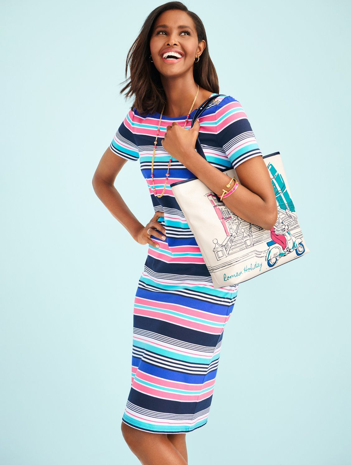 Vibrant Stripes Make This Dress A Fun Addition To Your Wardrobe The Simple Silhouette Makes It The Pe Simple Dress Casual Simple Summer Dresses Simple Dresses [ 1492 x 1128 Pixel ]