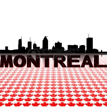 Montreal skyline with maple leaves foreground vector illustration Stock Vector