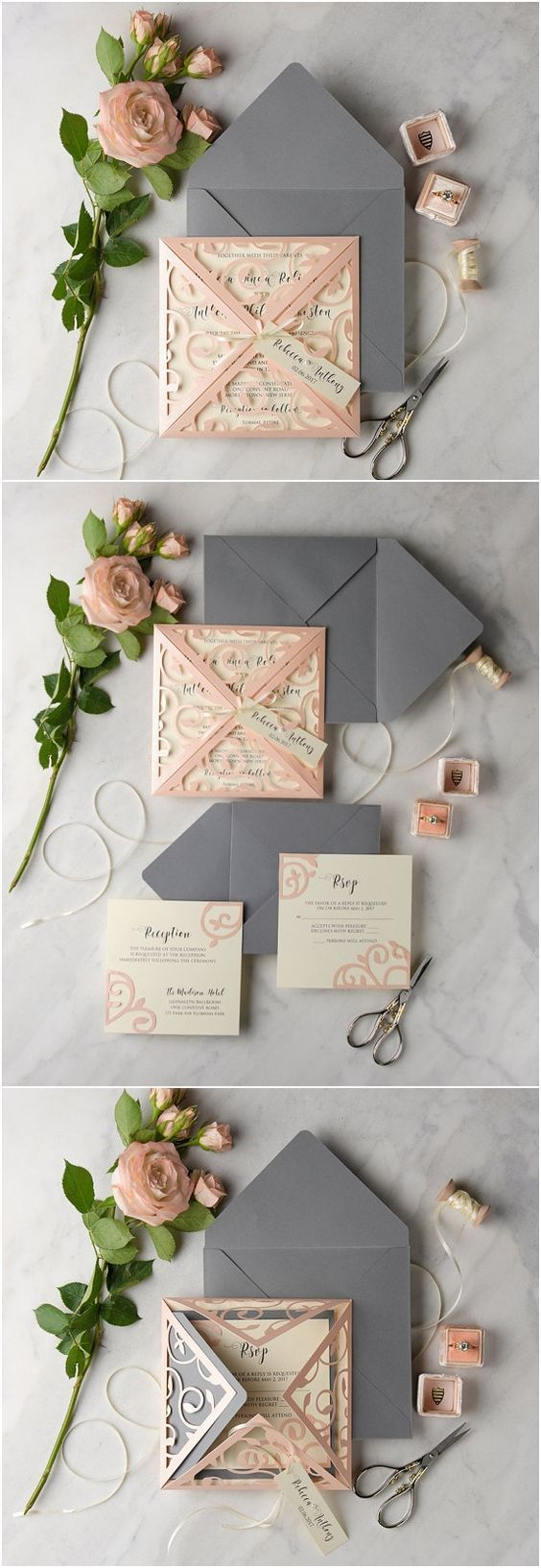 Peach Grey Lace Laser Cut Wedding Invitation Set Wedding