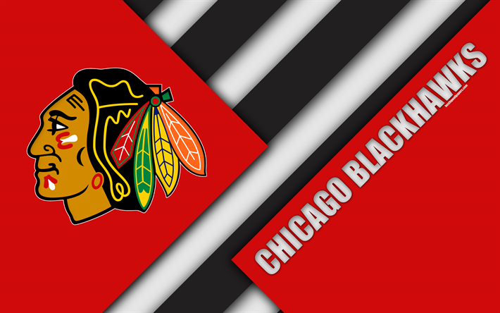 Download Wallpapers Chicago Blackhawks Chicago Illinois Usa 4k Material Design Logo Nhl Red Abstraction Lines American Hockey Club National Hockey Le Chicago Blackhawks American Hockey Chicago
