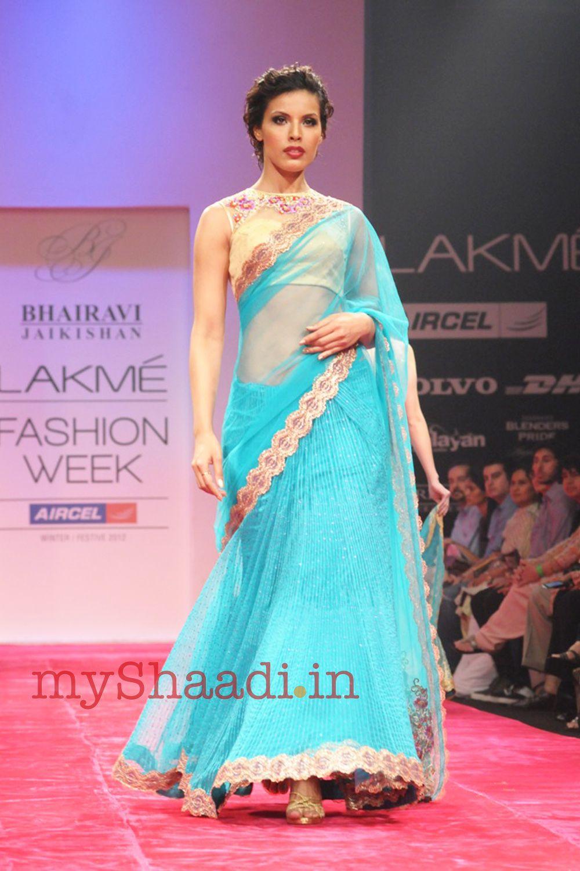 Saree for fashion show myshaadi ue indian bridal wear by bhairavi jaikishan  saree