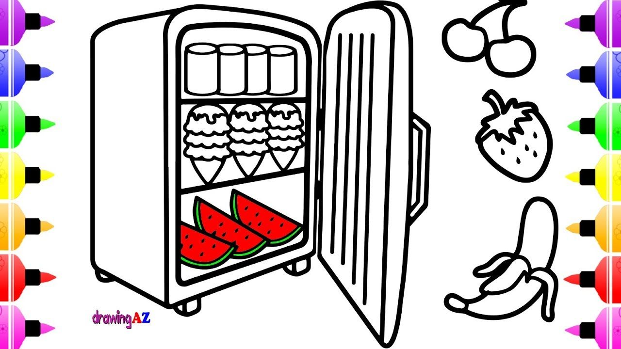 Coloring Pages Food in a Refrigerator with It s Door Open & Art