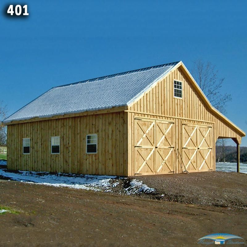 24x28 2 Car 2 Story Modular Garage: 36x24 Two Car Two Story Modular Garage/Barn Combo