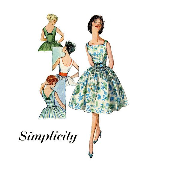 Brilliant Simplicity Times Square: 1960s Full Skirt Dress Pattern Simplicity 3426 Bust 31