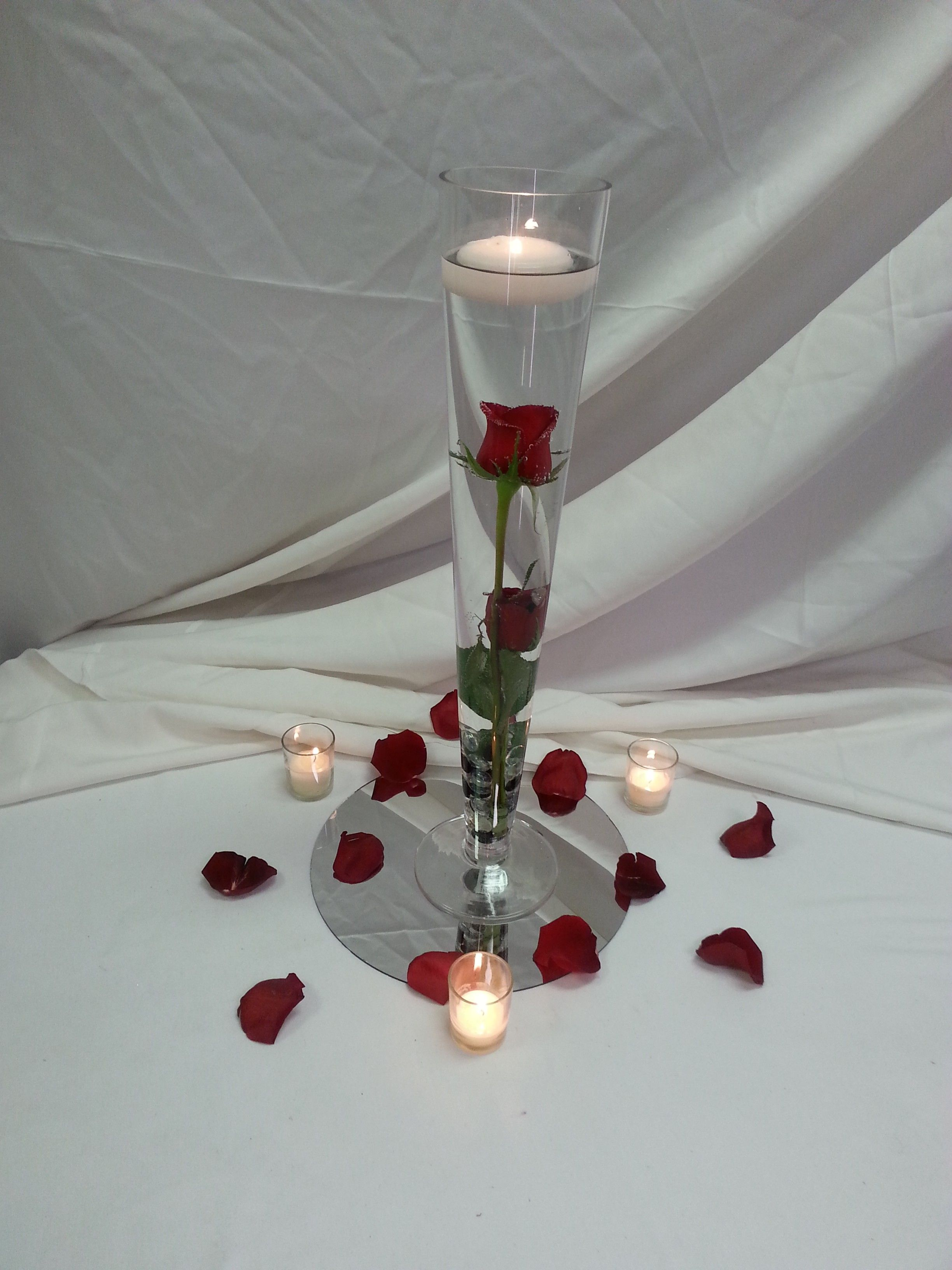 submerged red rose centerpiece with floating candle and petals rh pinterest com