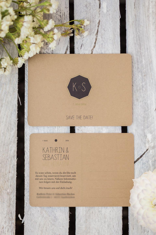 Save the Date Karte als Postkarte zur Hochzeit auf Kraftpapier