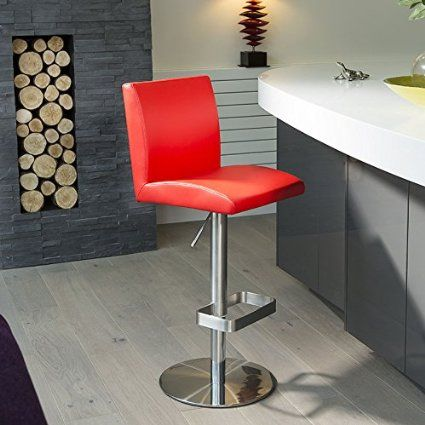 Luxury Red Kitchen Counter Bar Stool Seat Barstool Stainless
