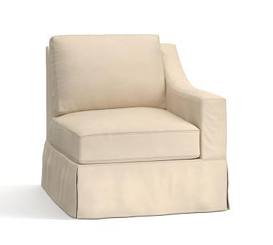 York Slope Arm Slipcovered Right arm Chair, Down Blend Wrapped Cushions, Performance Everydayvelvet(TM) Buckwheat