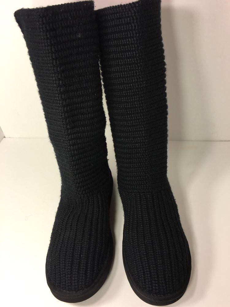 a5962d39fcf UGG Australia Classic Tall 5814 Women's Cardy Black Knit Boots Size ...