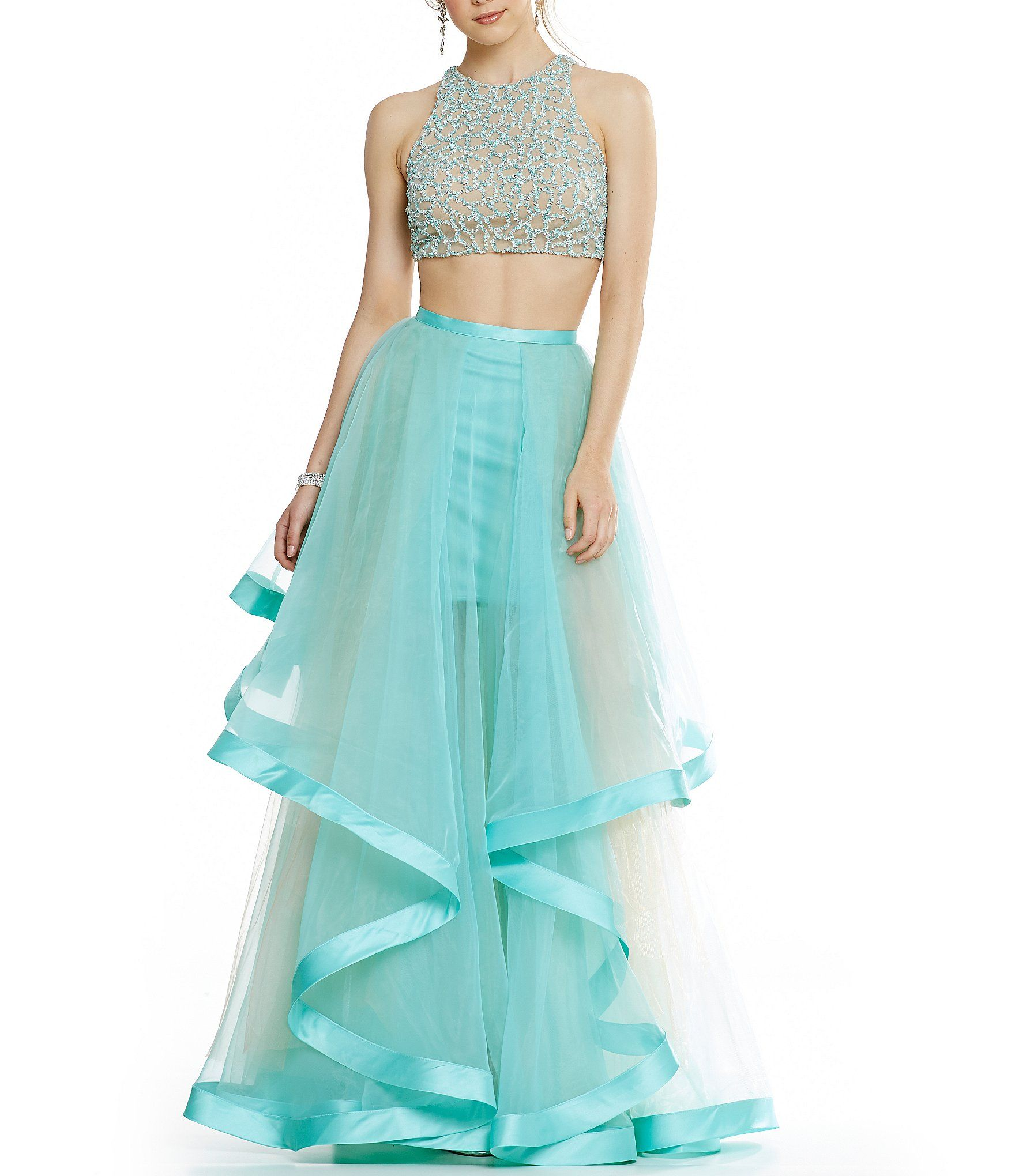 Glamour by terani couture high neck beaded bodice croptop twopiece