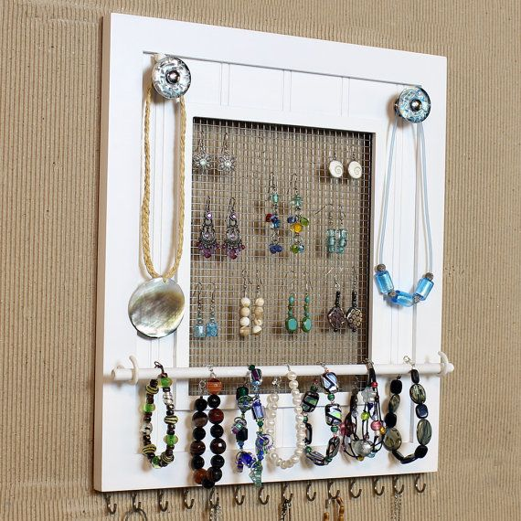 Do It Yourself Jewelry: Jewelry Organizer Display White Picture Frame By