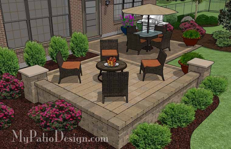 contrasting paver distinguish the dining and fire pit areas of