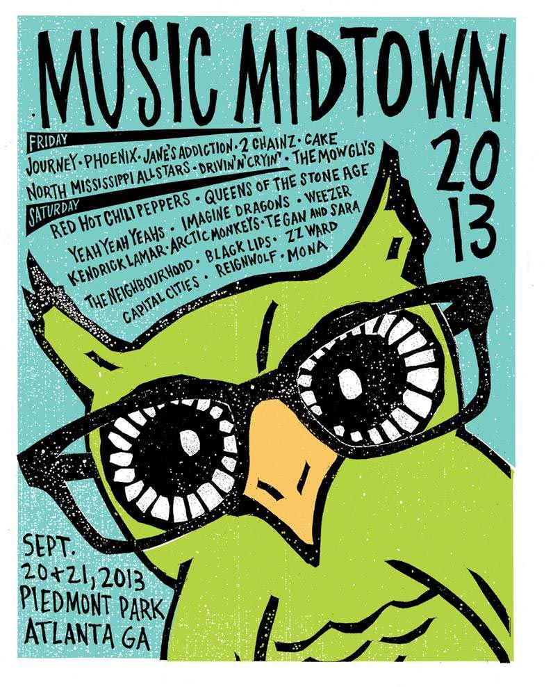 Music Midtown 2013 Limited Edition Screen Print Poster - Music ...
