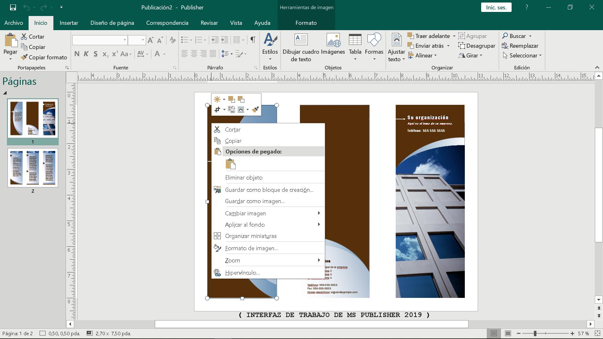 Interfaz de trabajo de Ms Publisher