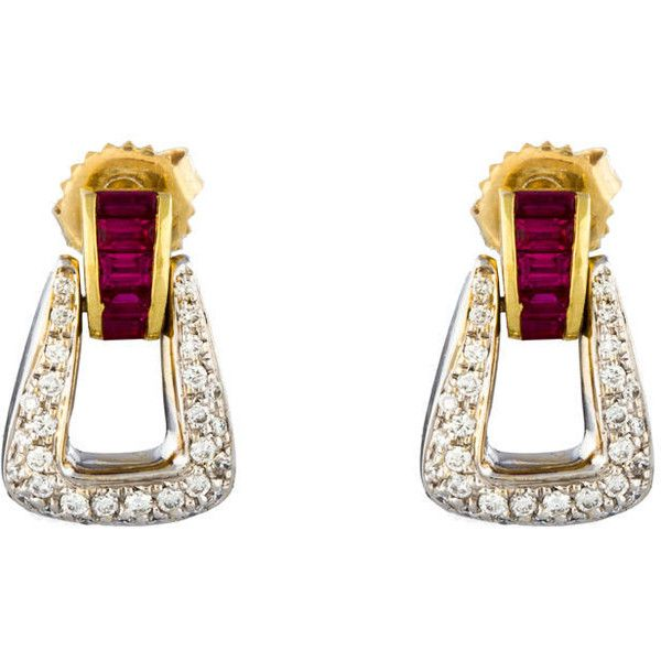 Pre-owned Doorknocker Diamond & Ruby Buckle Earrings featuring polyvore fashion jewelry earrings gold druzy jewelry drusy jewelry 18k diamond earrings ruby earrings two tone earrings
