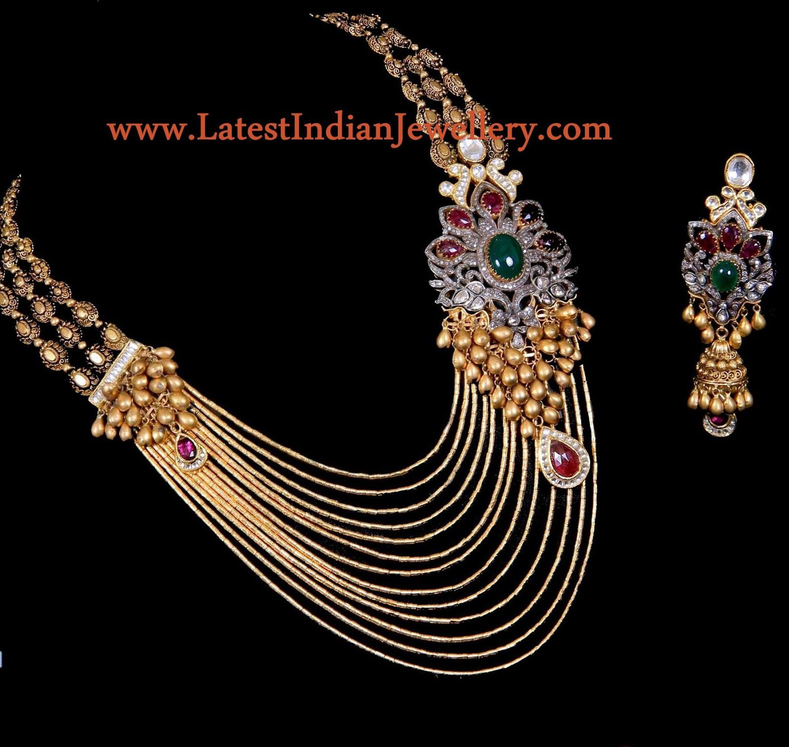Gold rani haar pictures to pin on pinterest - Designer Multi String Gold Jadau Necklace Latest Indian Jewellery Designs