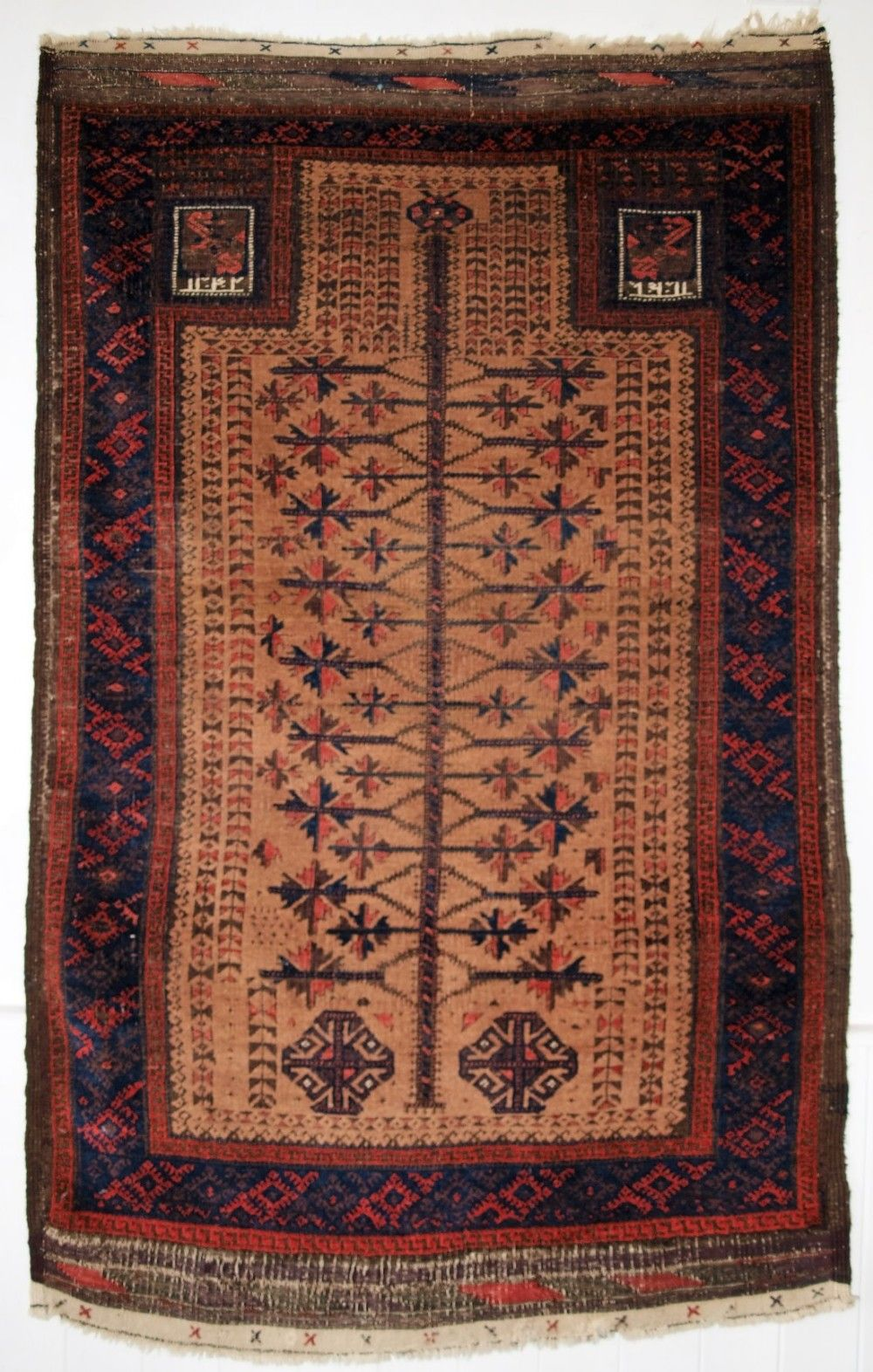 Asiatische Teppiche Antique Baluch Camel Ground Prayer Rug With Tree Of Life Dated