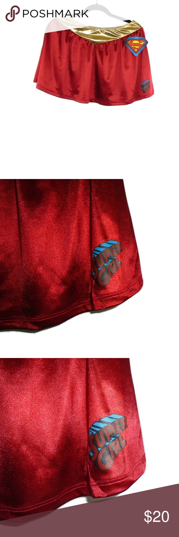 Supergirl Mini Skirt NWT DC Comics Large Red Gold DC Comics Supergirl Mini Skirt... -  Supergirl Mi