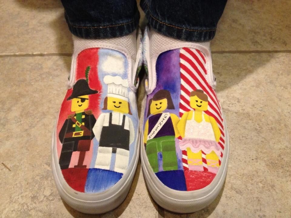 Lego Family Shoes Hand Painted With Acrylic Vans Custom Shoes Legos Custom Vans Shoes Painted Canvas Shoes Canvas Shoes
