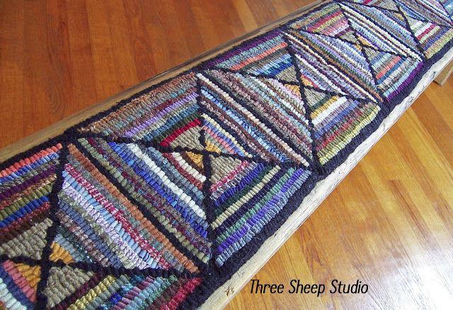 Threesheepstudio Rug Hooked Bench Rugs