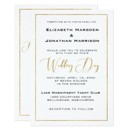 elegant black and gold script and border wedding card wedding