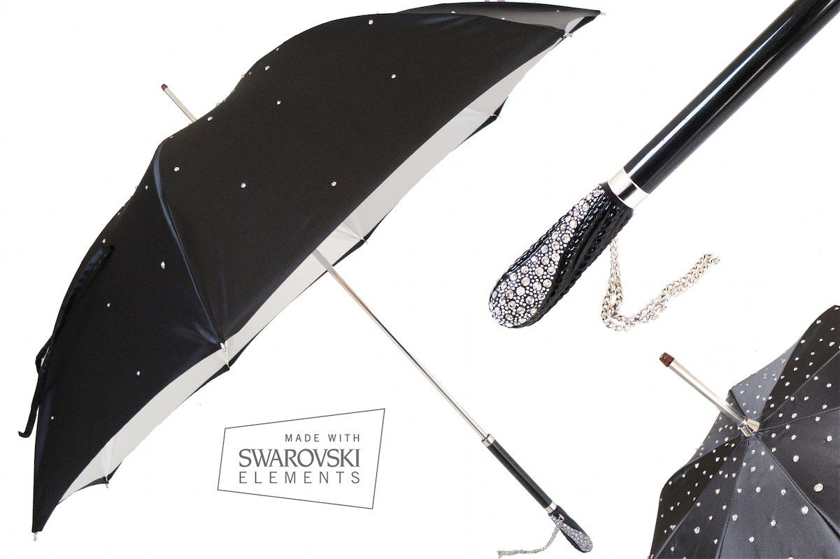 Stunning Black Pasotti Umbrella With Swarovsky Crystal Elements. Elegance and style all the way!