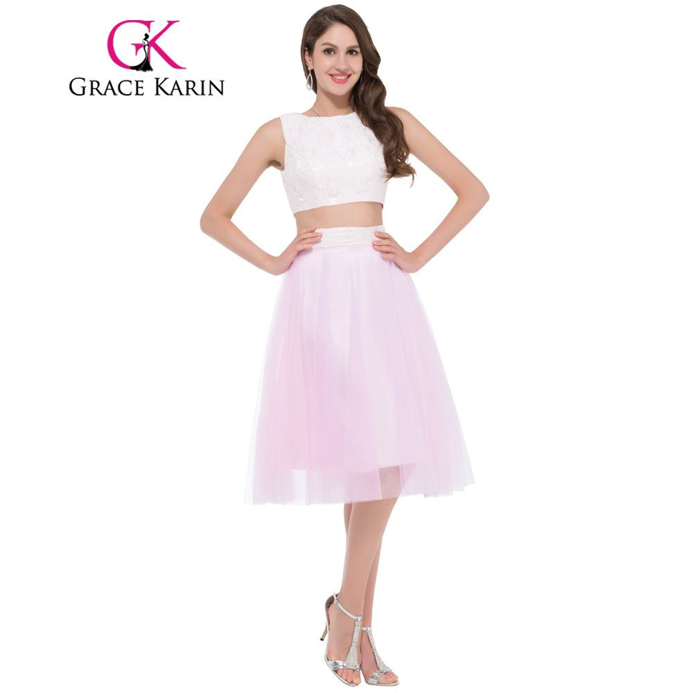 Click to buy ucuc grace karin two piece short prom dresses sexy pink