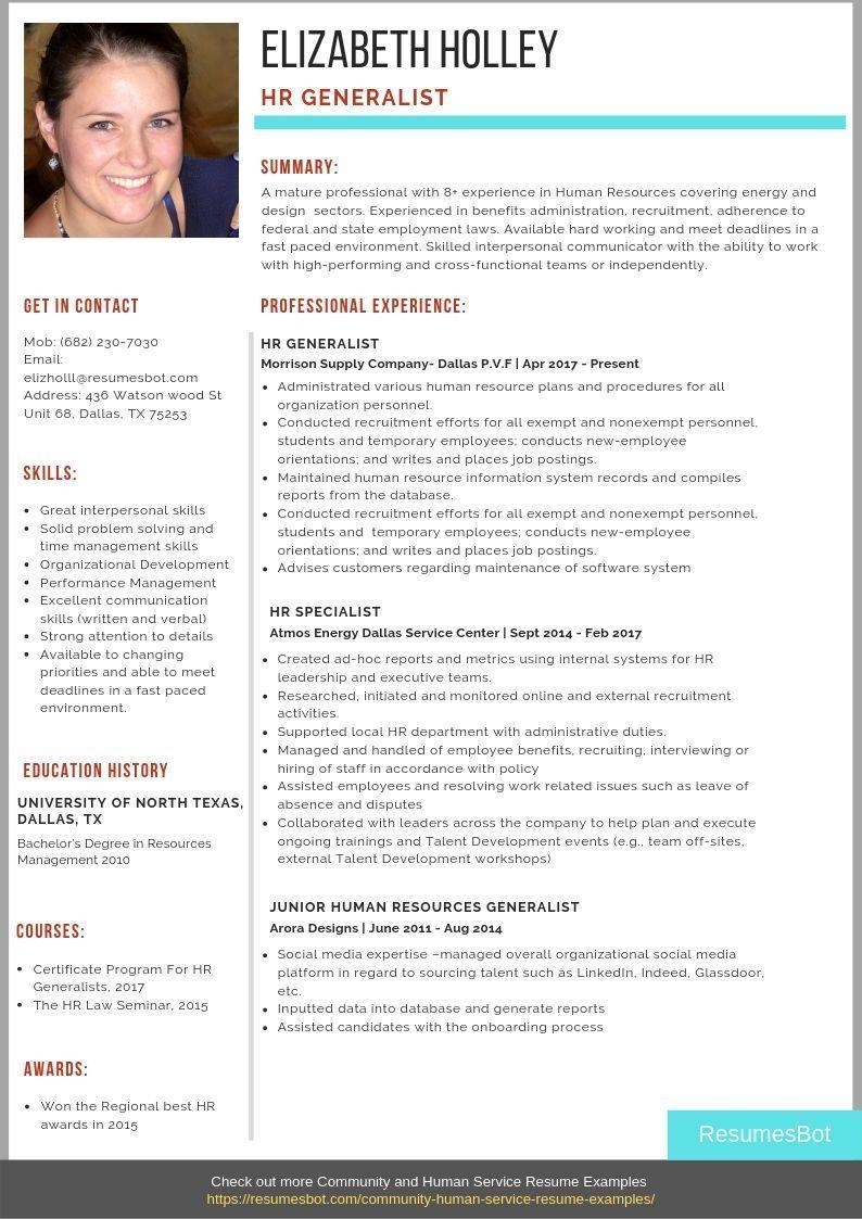 Resume examples HR Generalist Resume Samples & Templates