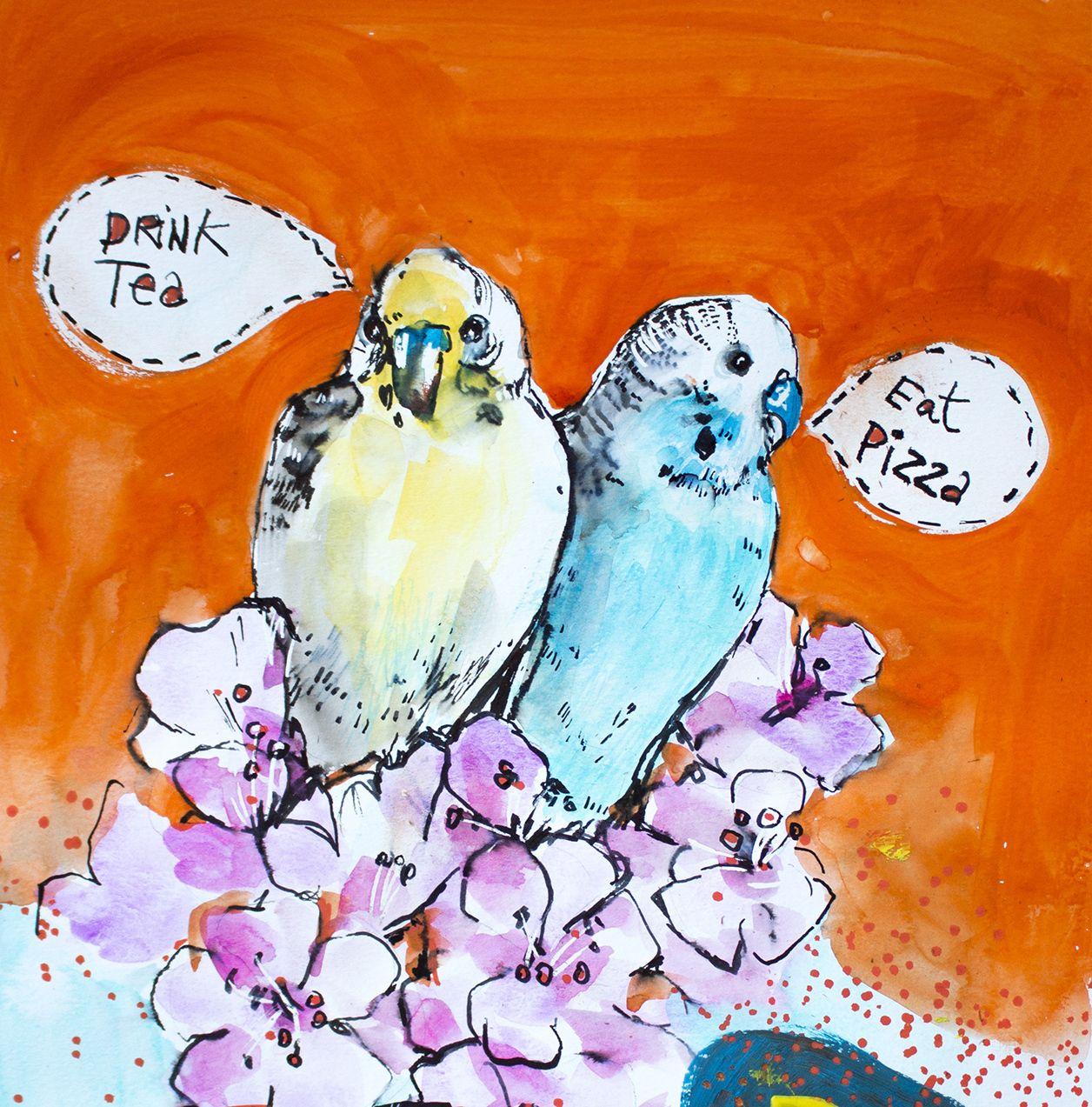 art journal . bird eat pizza, drink tea, watercolour, how to