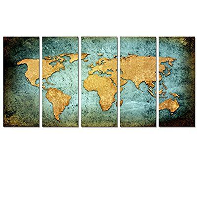 Visual Art Decor Retro World Map Poster Giclee Canvas Prints Vintage