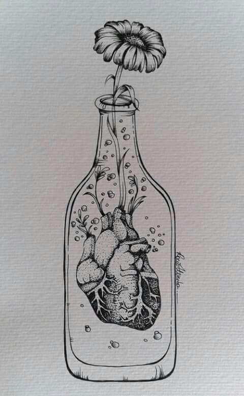heart in a bottle tatoo