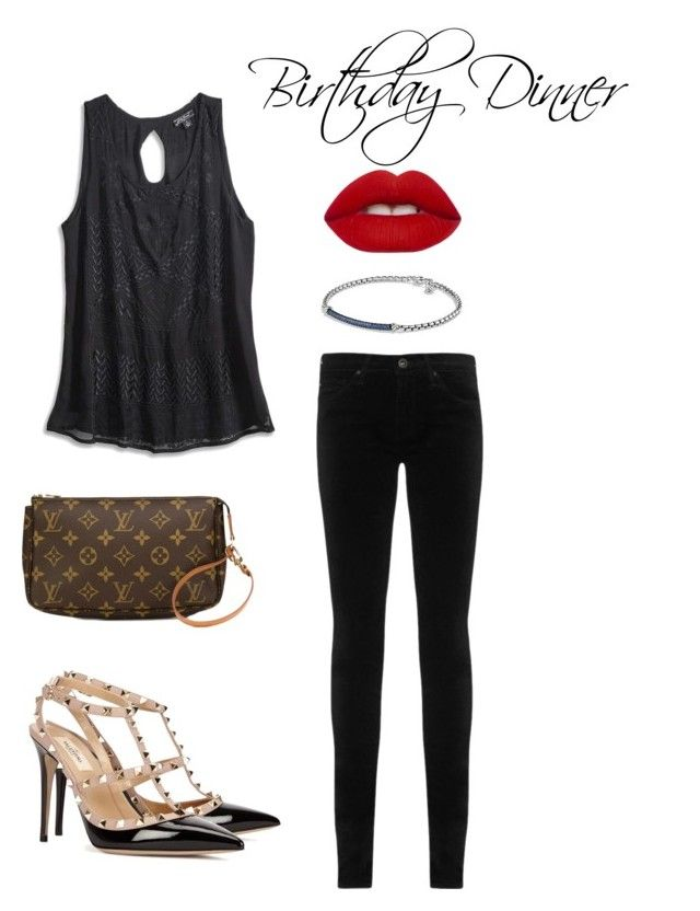 """""""Birthday Dinner"""" by lauryn-cavanagh on Polyvore featuring Lucky Brand, AG Adriano Goldschmied, Valentino, Louis Vuitton, David Yurman and Lime Crime"""