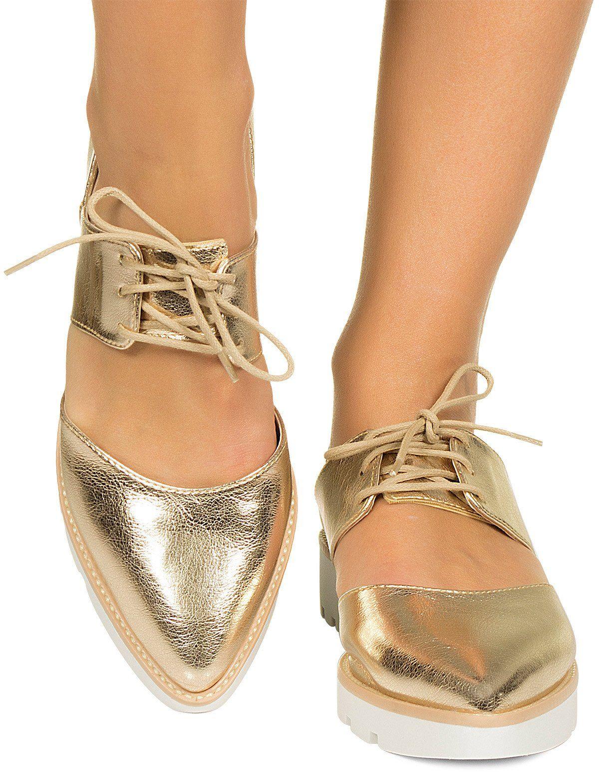 Sapato Oxford Aberto Dourado Taquilla - Taquilla - Loja Online De Sapatos Femininos | SHOES ...