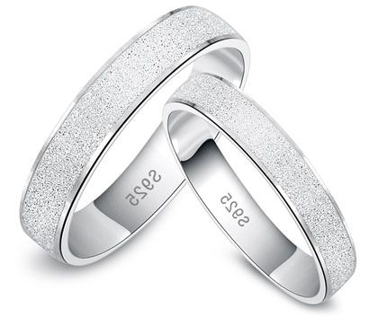 couples simple wedding bands set matching gifts with brushed finish in sterling silver
