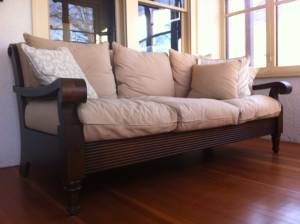 Crate Barrel Plantation Sofa Carved Wood Frame Heavy Canvas
