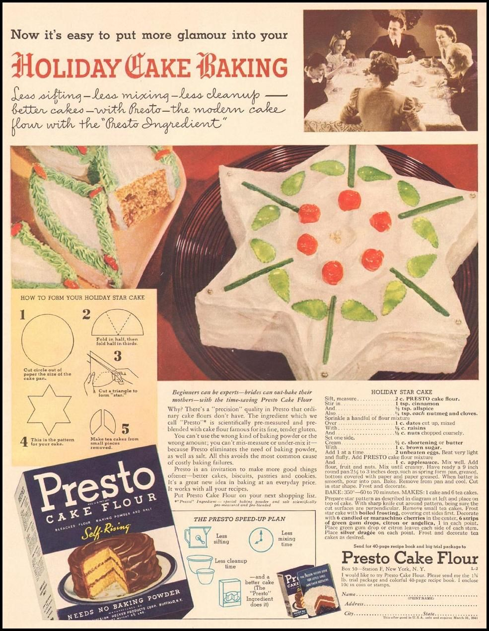 Holiday star cake ad for presto cake flour from life