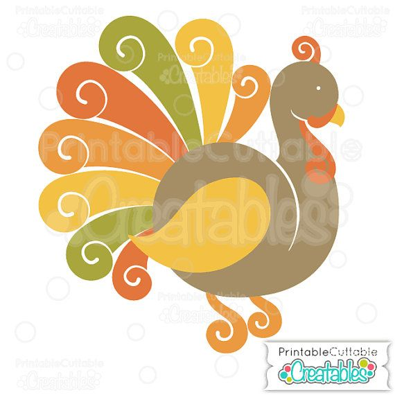 fancy swirls thanksgiving turkey svg cutting file clipart includes limited commercial use