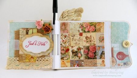 Inspired by Stamping All Year Wishes stamp set, Fancy Labels 2 die and crochet trim and ribbon
