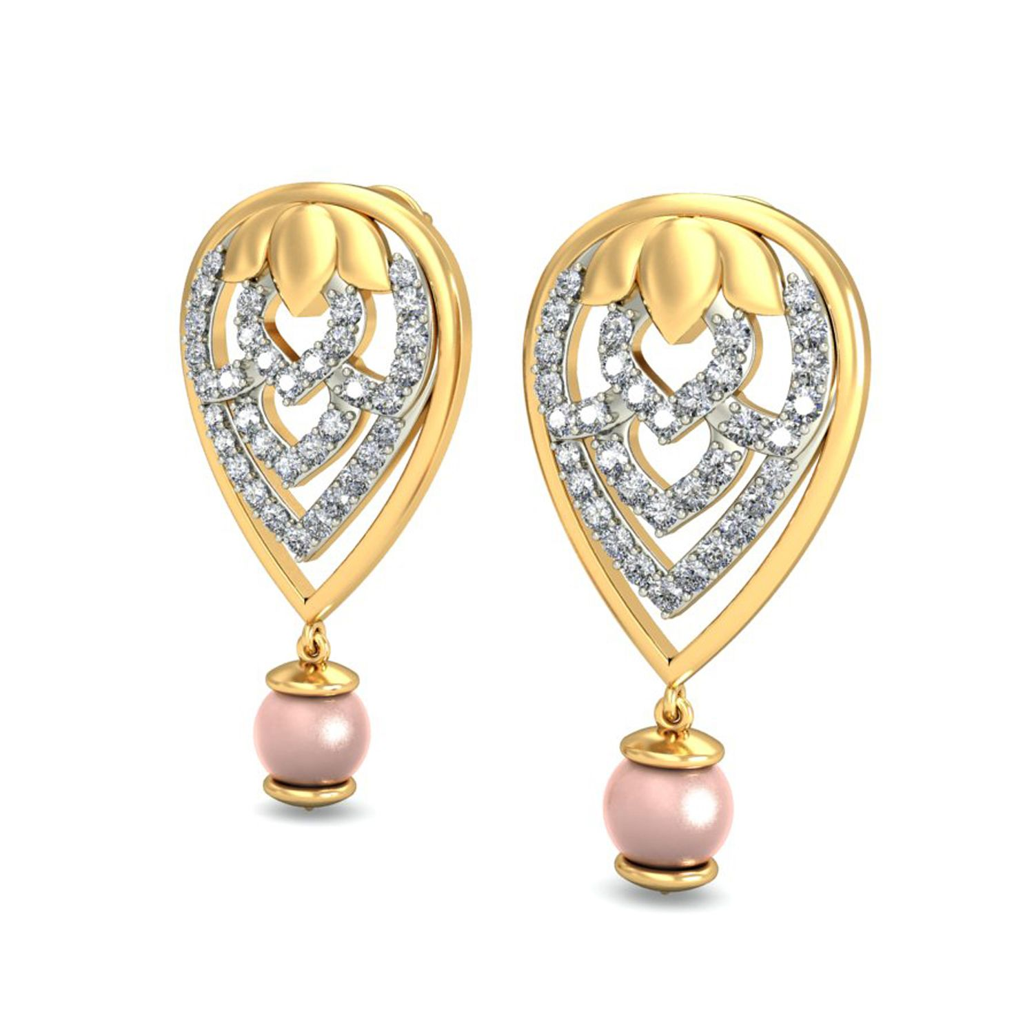 Gold Heart Earrings Real Certified Diamond 0 42 Ct Workwear