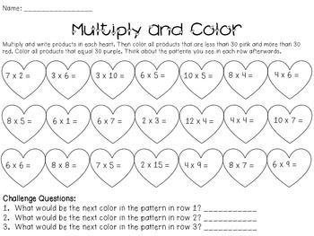 028ef50bc02d Valentine s Day Math Practice (3rd-4th) - 12 pages of math practice with a Valentine s  Day theme. Multiplication