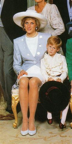 September 17, 1989:  Princess Diana & Prince Harry at the wedding of her brother, Charles, Earl of Spencer.