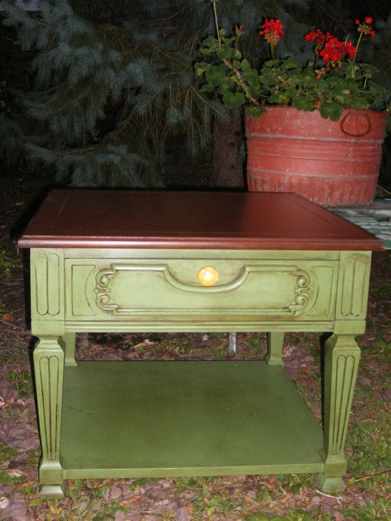 Sage Green Chalk Painted Distressed Side Table Shabby Chic Jars